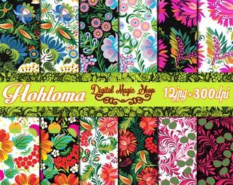 HOHLOMA Russian Art Black and White Background - 12 pcs 300 dpi -  Decoupage Paper, Floral Paper, Khokhloma, Zhostovo Ethnic Paper