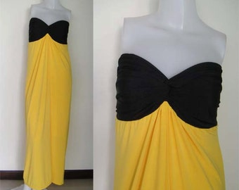 Color block Black Yellow Strapless  sun beach Long maxi dress all size