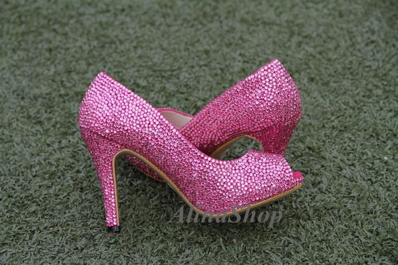 Pink Bling Wedding Shoes Pink Crystals Wedding Shoes