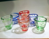 Shot Glass, Hand Blown Glass.  Spirals or speckles in a variety of colors - MoltenColor