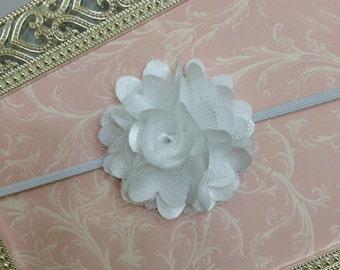 Baby Headband - White Baby Headband - White Mini Satin Mesh Flower Headband - White Headband - White Newborn Headband -Satin Flower Headband
