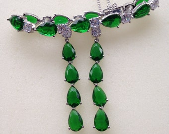 SALE/Luxury wedding/bridal/prom/evening/vintage cz emerald earrings and bracelet jewelry set