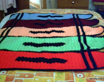 Crochet crayon afghan blanket