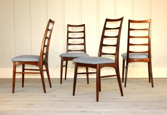 Set Of 4 Danish Rosewood Ladder Back Dining Chairs By Koefoeds