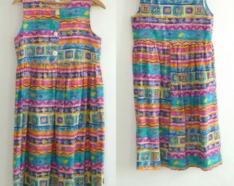 Vintage 80's  Bright Colored Cotton Sundress Pleated High Waist Made in California