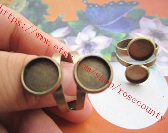 New Style--5pcs Antiqued Bronze Round Trays 10mm bezel ring blank findings--double trays--very strong