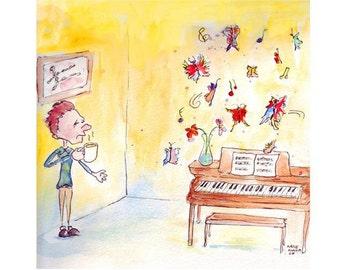 Whimsical Coffee Piano Dreams Art Print