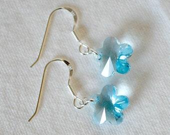 Swarovski Blue Flower Earrings, Aquamarine Swarovski earrings, Blue earrings, Swarovski Aquamarine flower earrings, Crystal flower earrings