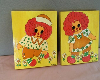 Vintage Raggedy Ann and Andy Hand Painted Wood Wall Plaques by Marcia