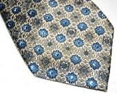 Tan with blue flowers rhinestone necktie