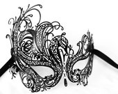 laser cut black lace masquerade mask fit for weddings, prom nights , bachelorette parties, new years night