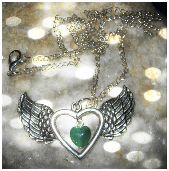 Handmade Silver Necklace with Aventurine Heart in Silver by IreneDesign2011