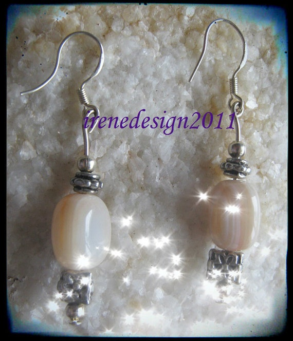 Handmade Silver Earrings with Morganite & Flower by IreneDesign2011
