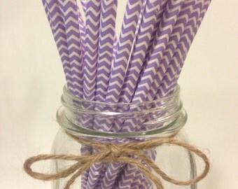 25 Lavender chevron paper straws // baby bridal shower decorations // candy dessert buffet table // wedding // First birthday/new year party