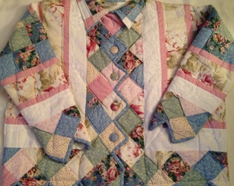 T2   Sweet pastel handmade quilted jacket. Women's 2X