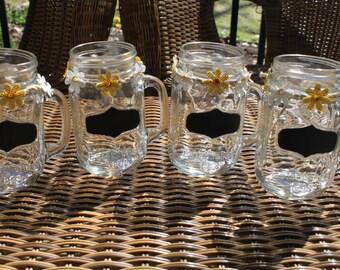 Chalkboard Mason Jar  Mugs Set of 4