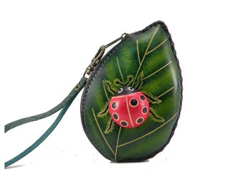 Ladybug on Green Leaf Wristlet /  Coin Purse /  Change Purse /  Genuine Leather