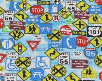 Road Signs Fabric 100% Cotton