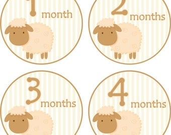 Monthly Baby Stickers Baby Stickers Baby Month Milestone Stickers Sheep Neutral Baby Month Stickers Monthly Bodysuit Stickers
