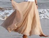 Khaki Chiffon skirt Maxi Skirt Long Skirt  Wedding Skirt Large size skirt Party Skirt Summer Pleat skirt Beach Skirt plus size dress