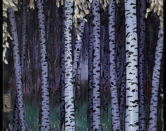 Birch forest, the night - poster poster - style decorating Japanese print