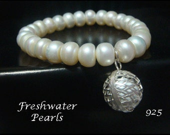 Harmony Ball Bracelet with Beautiful Freshwater Pearls and  925 Sterling Silver Harmony Ball | Freshwater Pearls Harmony Ball Bracelet 005
