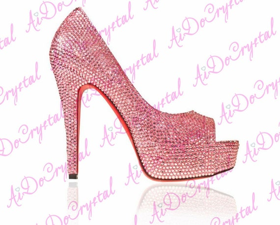 Watermelon Colour  Diamond Crystal  Heels Pumps Wedding Party Shoes