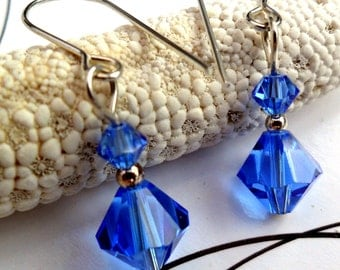 J0679 - Sterling Silver Blue Swarovski Crystal Earrings