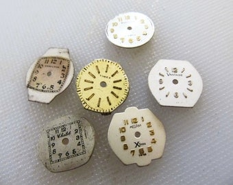 Steampunk 6 Small Old Lady's Watch Face Dials, Hamilton, Timex, Westclock, etc., From Old Watch Parts, Collecting, Or Altered Art Gear 3A256