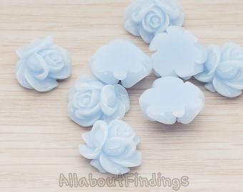 CBC214-01-PB // Pastel Blue Colored Full Bloom Rose Flower Flat Back Cabochon, 4 Pc
