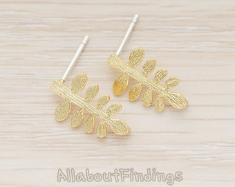 ERG271-MG // Matte Gold Plated Multi Leaf Branch Ear Post, 2 Pc