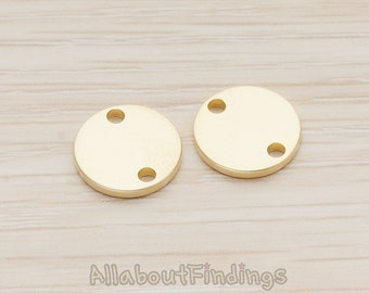 PDT1011-02-MG // Matte Gold Plated 12mm Round Disk Tag Connector, 4 Pc