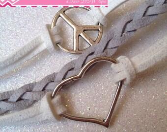 PEACE - LOVE Charm Bracelet