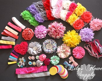 Baby Shower Headband Kit - Floral Collection - Hair Bow Kit - Baby Shower Headband Station Kit - Birthday Party - 32 Headbands 5 Clips