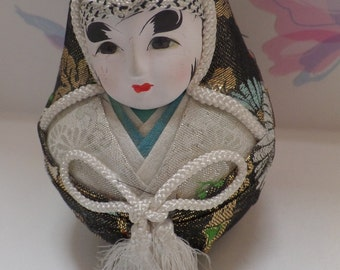 "An asian, Japanese Ball doll, made with lovely old fabrics, and great face paint, 4"" tall"