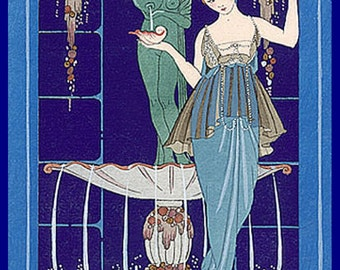 "Georges Barbier, Paquin Gown, Fashion, Style, 8 x 10"" premium poster paper"