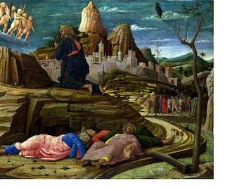 """Andrea Mantegnathe, Agony in the Garden, 1480, Italian 8x10"""" Cotton Canvas Print"""