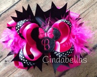 Personalized Stacked Boutique Hair Bow - Minnie Mouse inspired