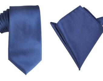 Matching Necktie + Pocket Square Combo New Designer Navy Blue Line (X520-T85+PS) Men's Handkerchief + Neck Tie 8.5cm Ties Neckties Wedding