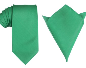 Matching Necktie + Pocket Square Combo Design New Brazilian Green (X076-T85+PS) Men's Handkerchief + Neck Tie 8.5cm Ties Neckties Wedding