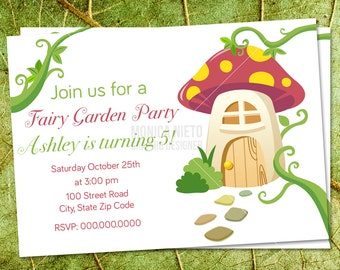 Custom Printable Fairy Garden Party Birthday Invitation