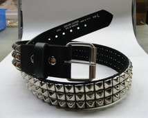 """1-3/4"""" (45mm) wide Genuine Leather Belt with 3 rows 1/2"""" (13 mm) PY-77 Pyramid Square Studs Silver/Chrome Studded Spiked Made in U.S.A. NYC"""