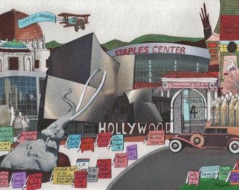 LOS ANGELES MEMORIES Original Painting Collage Hollywood Beverly Hills Getty Griffith Observatory Disneyland Lakers Dodgers Kings