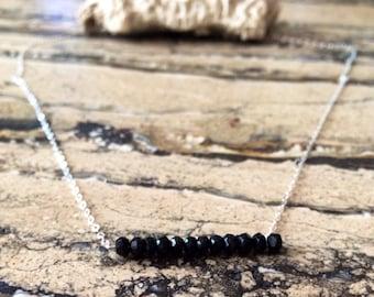 Sterling Silver Black Spinel bar necklace.
