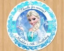 Frozen Favor Tag or Label - Disney Elsa Frozen Birthday Party Favor - Printable Treat Bag Label Thank You Favor Sticker Circle - 2.5 inch