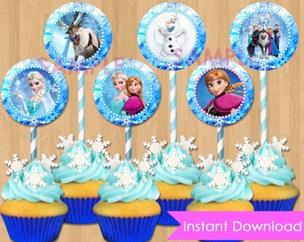 "Frozen Cupcake Toppers - INSTANT DOWNLOAD Disney Frozen Cupcake Toppers - Printable 2"" Birthday Party Circle Favor Tag matches Invitation"