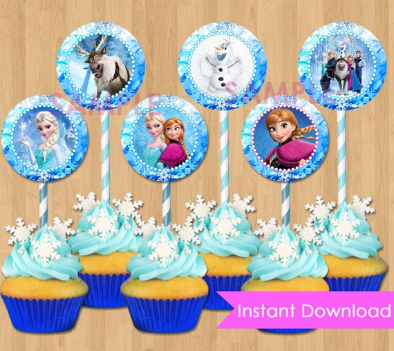 Frozen Cupcake Toppers INSTANT DOWNLOAD Disney Frozen
