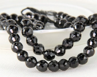 Black Spinel Rondelles Micro Faceted, Black Gemstones,  1/4 inch Strand, 6.5mm to 6.8mm KJ