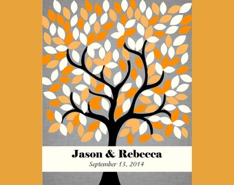 Alternative Guestbook Tree, Wedding Tree Print, Signature Wedding Tree 172 Guest, Personalized Guestbook Signature Tree