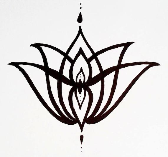 Tattoo Ideas Easy To Draw: Temporary Tattoo Elegant Lotus Flower Hand Drawn Geometric